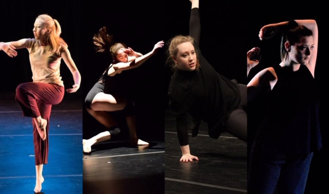 A collage of four women dancing